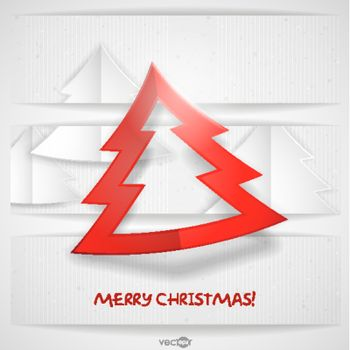 Simple Paper Christmas Tree. Christmas And New Year Symbols. Vector Illustration. Eps 10