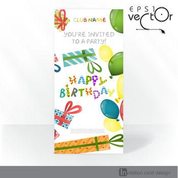Colorful Birthday Background. Party Invitation Card Design, Template. Vector Illustration