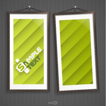 Two  Frames Of Picture On A Striped Old Wall. Vector Illustration. Eps 10.