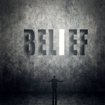 Concept of trust, belief, credit etc, man stand on wall with text.