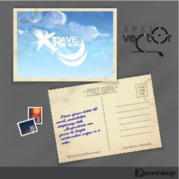 Old Postcard Design, Template. Vector Illustration. Eps 10
