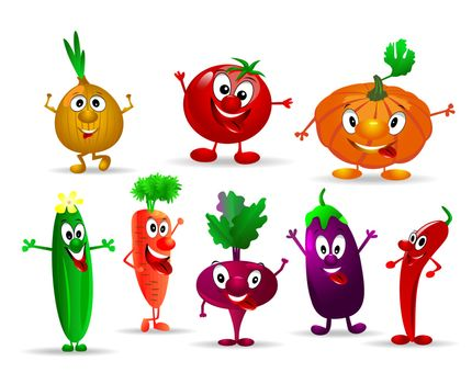 Collection of various fun and funny vegetables.