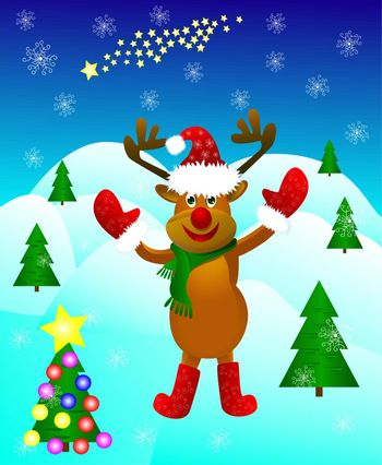 Funny cartoon deer paw raised in greeting amid festive Christmas trees and snowflakes.
