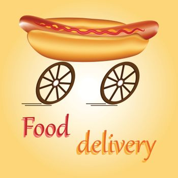 Hot dog on wheels as idea of fast food delivery