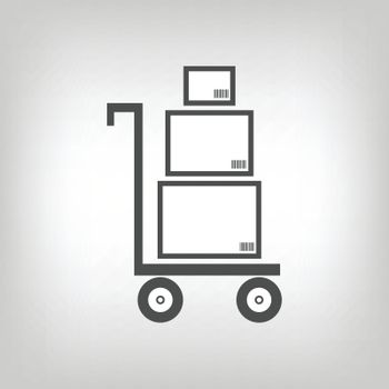 Cart with three boxes having barcodes as delivery symbol