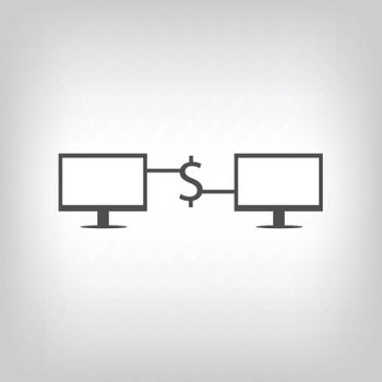Two computers connected with dollar sign. E-commerce and business online