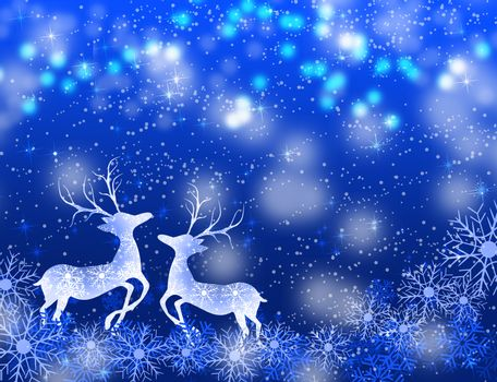 Christmas background with deers and snowflakes