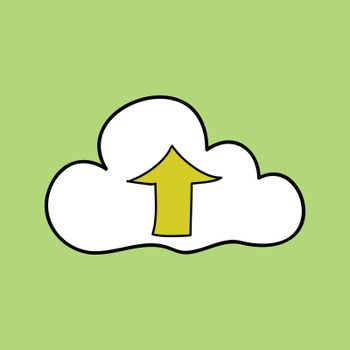 Doodle style cloud computing with up arrow