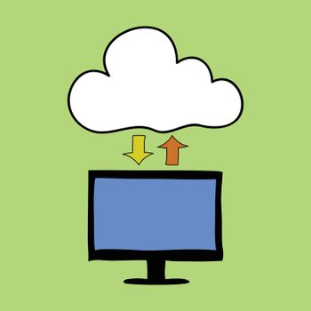 Doodle style computer and cloud with arrows as symbol of cloud computing