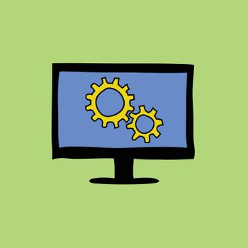 Doodle color  sign of computer with gear wheels. Settings icon