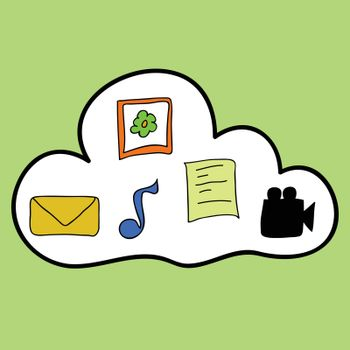 Doodle style cloud computing. Storage of music and documents, films, photos and documents