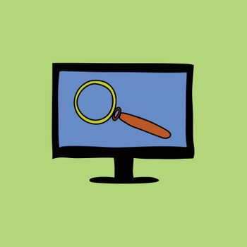 Doodle style computer with magnifying glass as symbol of search