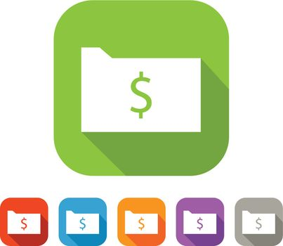 White and green square flat folder with dollar icon with color set in red, blue, orange, purple and grey colors