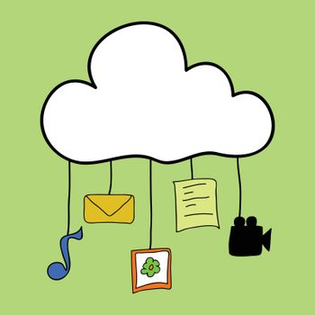 Doodle style cloud computing. Storage of music and documents, movies, photos and mail
