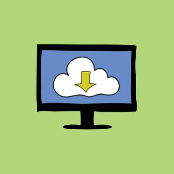 Cloud computing sign with arrow down in colorful doodle style