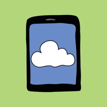 Doodle style tablet with cloud. Cloud computing