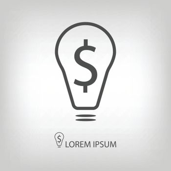Bulb with dollar as business idea sign. Logo in grey colors with copy space