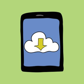 Doodle style touchpad with cloud. Cloud computing