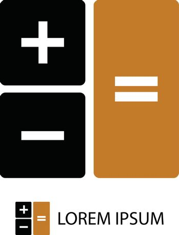 Calculator as logo with copyspace in black and orange colors