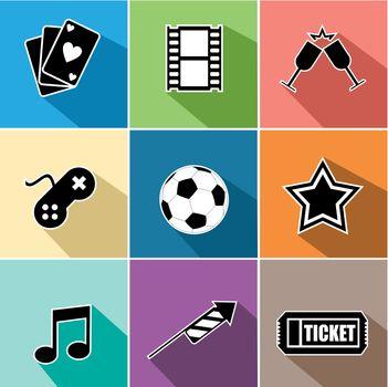 Entertainment icons set flat design