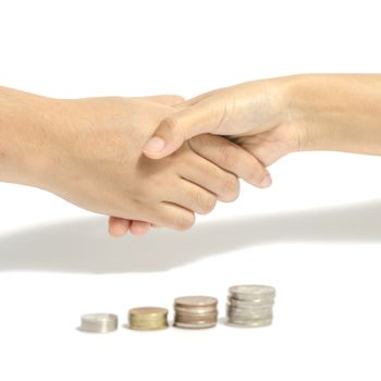 shake hand and coin