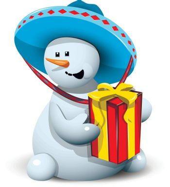 illustration merry snowman with gift in a sombrero