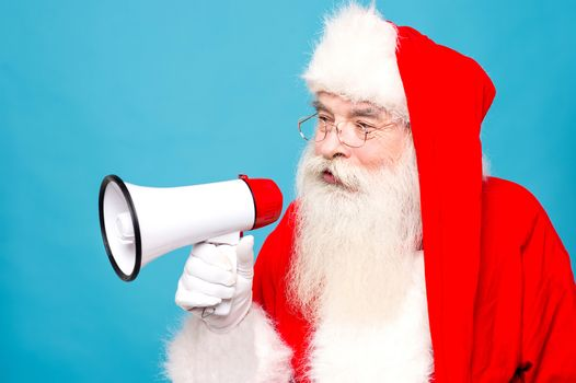 Santa claus with  megaphone