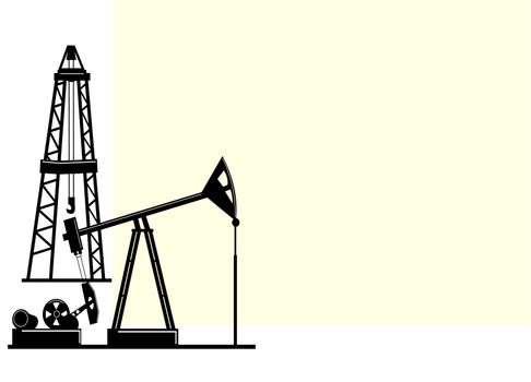 .                                                                                                                                                                                                                                                             The illustration depicts the silhouettes of derricks for the extraction of oil from the bowels of the earth.