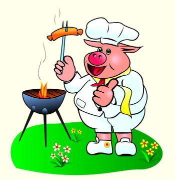 Pig chef prepares sausages on the barbecue.