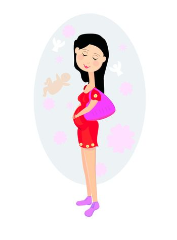 Happy pregnant woman  dreams about the birth of the child.