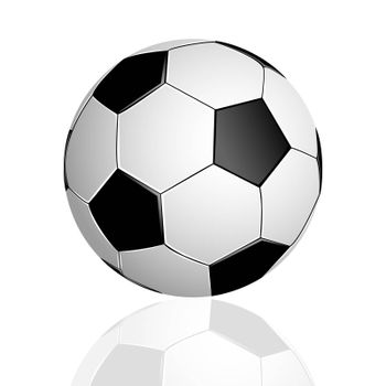 Soccer ball with reflection on white background.