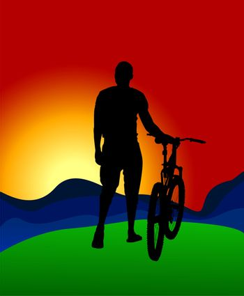 A silhouette of a cyclist on the background of mountains and sun dawn.