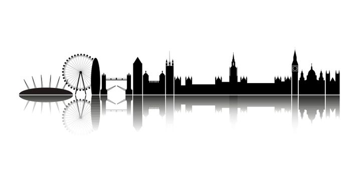 Isolated silhouette of the city of London, together with reflection on the horizon.