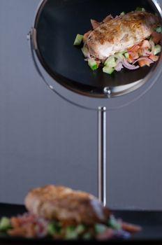 Chicken in mirror