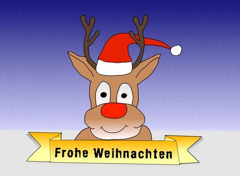 Illustration: Rudolph wishing Merry Christmas in german