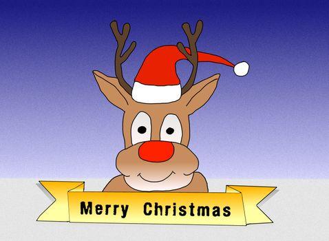 Illustration: Rudolph wishing Merry Christmas