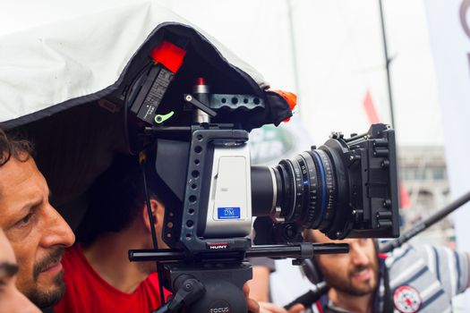 TRIESTE, ITALY - OCTOBER, 12: Cameraman in action during the production of short film on October 12, 2014