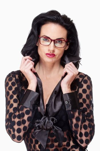 Woman with Black Hair and Glasses