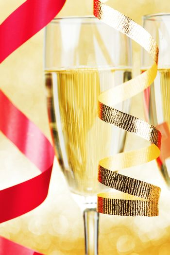 Champagne and ribbons