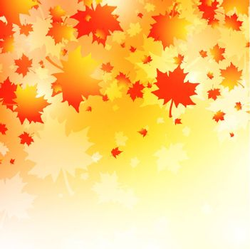 Autumn Background With Maple Leaves, Copyspace
