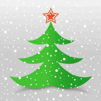 The Christmas tree with star and snow gray background
