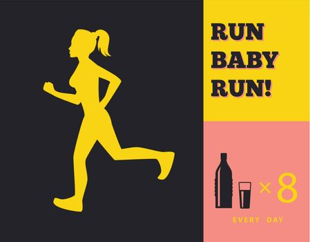 Vector illustration of Silhouette of a running girl