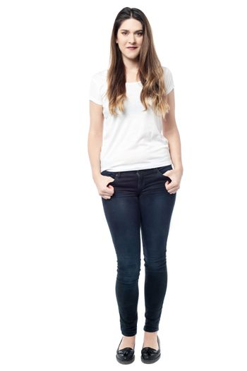 Full length portrait of young woman