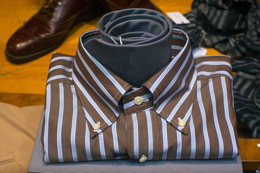 Close up of striped male shirt and necktie