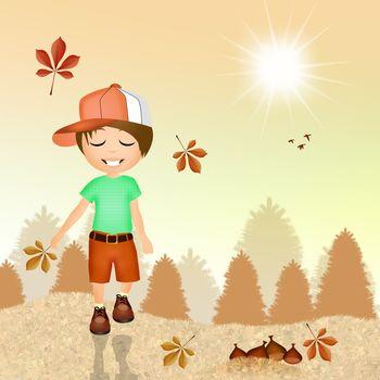 illustration of child in autumn