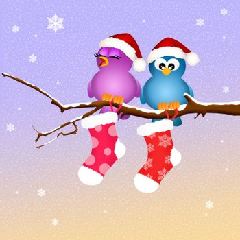 illustration of birds at Christmas