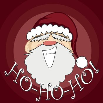 Santa Claus with a big smile (background with ho-ho-ho text)