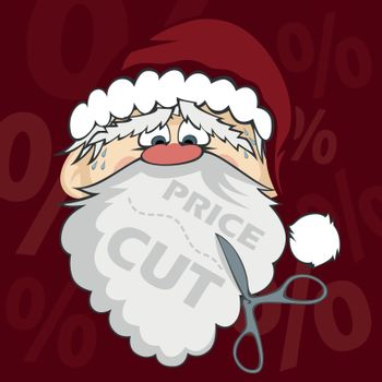 "Santa Claus with scissors about to cut his beard (with background and ""PRICE-CUT"" text)"