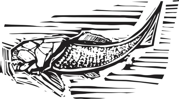 Woodcut style image of a Dunkleosteus an armored ancient fossil fish