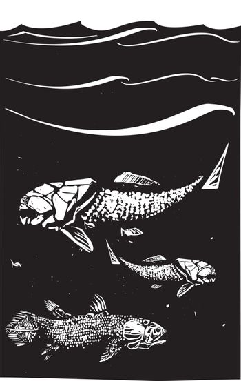 Woodcut style image of a Dunkleosteus an armored ancient fossil fish and Coelacanth swimming in the ocean